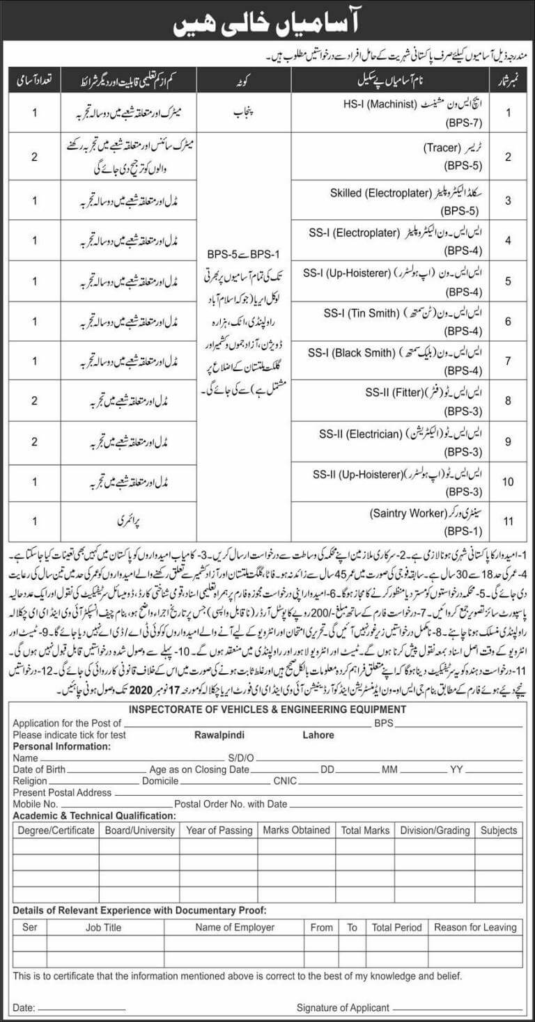 Pak Army Jobs November 2020
